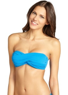 Shoshanna turquoise pique twist front optional halter bandeau top
