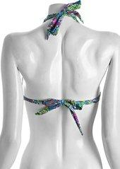 Shoshanna turquoise printed banded triangle halter bikini top