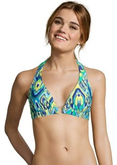 Shoshanna violet and jade ikat printed ring halter top