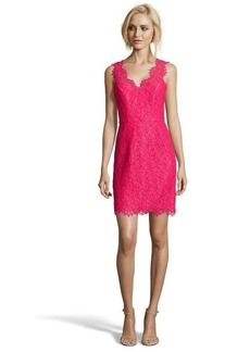 Shoshanna watermelon lace overlay 'Rose' v-neck sleeveless dress