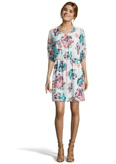 Shoshanna white and teal fireworks print chiffon 'Audrey' dolman sleeve dress