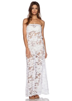 Shoshanna White Lace Strapless Maxi Dress