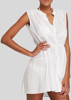 Shoshanna Window Eyelet Beach Shirt Dress Swim Cover Up