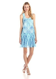 Shoshanna Women's Augustina Geo Tie Dye Shift Dress, Aquamarine, 6