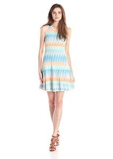Shoshanna Women's Blythe Diamond Geo Knit Fit and Flare Dress, Cyan/Multi, X-Small