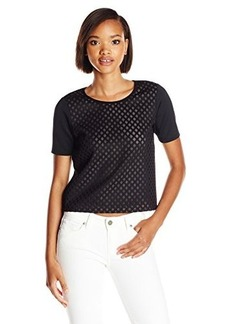 Shoshanna Women's Catalina Laser Cut Scuba Top, Jet, 8