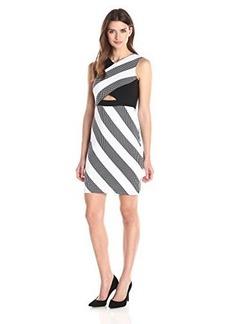 Shoshanna Women's Dotted Stretch Stripe Maya Dress, Black/White, 12