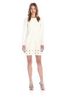 Shoshanna Women's Double Crepe Egerie Long Sleeve Dress, Snow, 4