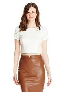 Shoshanna Women's Edna Pebbled Cropped Top, Ivory, 10
