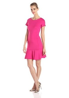 Shoshanna Women's Fallon Neoprene Drop Waist Dress, Hibiscus, 4