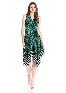 Shoshanna Women's Floral with Stripe Border Emmy Dress, Jade/Multi, 8