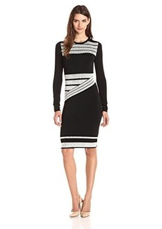 Shoshanna Women's Herringbone Jacquard Agatha Sweater Dress, Black/White, Small