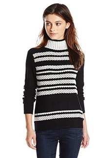 Shoshanna Women's Herringbone Jacquard Etoile Turtleneck Sweater, Black/White, Large
