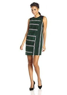 Shoshanna Women's Iggy Graphic Tweed Sleeveless Dress, Forest Green, 12