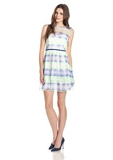 Shoshanna Women's Jessica Silk Optical Plaid Tiered Dress, Blue/Multi, 12