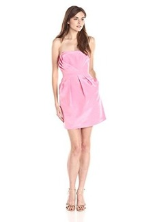 Shoshanna Women's Julianna Bengaline Strapless Dress, Rose, 8
