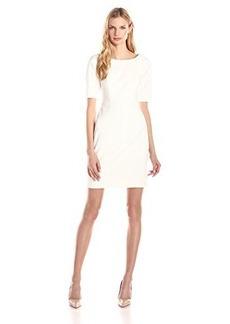 Shoshanna Women's Lainey Pebbled Crepe Sheath Dress, Ivory, 10