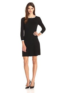 Shoshanna Women's Merino Wool Lisette Sweater Dress, Black/White Tipping, Large