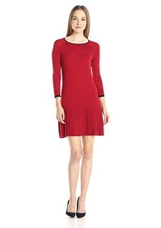 Shoshanna Women's Merino Wool Lisette Sweater Dress, Merlot Navy Tipping, Petite