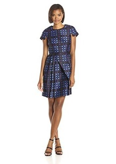 Shoshanna Women's Plaid Jacquard Evelyn Dress, Cobalt Multi, 0