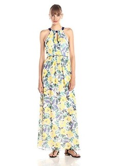 Shoshanna Women's Roseanne Maxi Dress, Limoncello Multi, 12