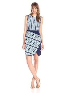 Shoshanna Women's Sicily Asymmetrical Sheath Dress, Navy Multi, 2