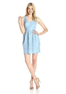 Shoshanna Women's Sierra Scallop Lace Dress, Periwinkle, 4