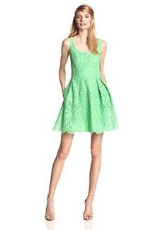 Shoshanna Women's Svetlana Lace Fit and Flare Dress, Apple Green, 10