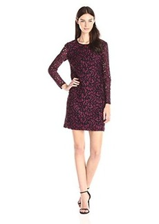 Shoshanna Women's Two Tone Lace Brooklyn Long Sleeve Dress, Plume/Jet, 2