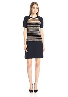 Shoshanna Women's Variegated Knit Stripe Bethany Sweater Dress, Navy Multi, Small