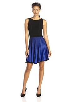 Shoshanna Women's Vertical Stripe Bernadette Sweater Dress, Black/Azure, Medium