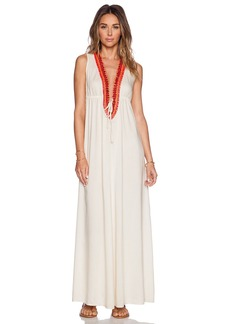 Shoshanna Wooden Embellishment Maxi Dress