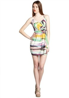 Shoshanna yellow and purple splash stripe stretch silk 'Serena' spaghetti strap sun dress
