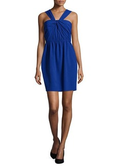 Shoshanna Zoya Halter Knot-Bodice Dress  Zoya Halter Knot-Bodice Dress