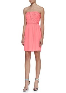 Shoshanna Zoya Strapless Ruched-Bodice Dress, Neon Pink