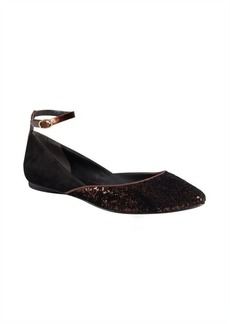 Sigerson Morrison black suede and bronze sequined velvet 'Haidya' flats