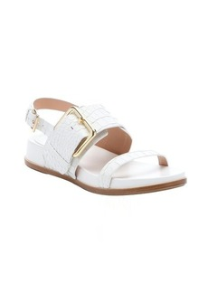 Sigerson Morrison bone croc-embossed leather 'Solar' buckle sandals