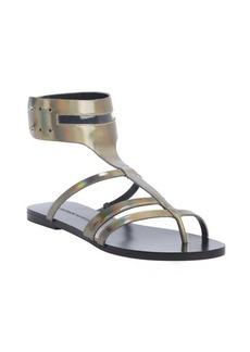 Sigerson Morrison iridescent grey leather anklestrap sandals