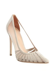 Sigerson Morrison ivory suede and mesh textile pointed toe pumps