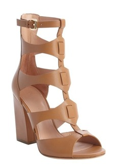 Sigerson Morrison tan leather strappy 'Bulgaro' heel ankle sandals
