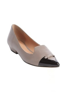 Sigerson Morrison taupe and black leather 'Dahlia' pointed toe flats