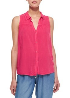 Button-Front Combo Tank Top, Flamingo Pink   Button-Front Combo Tank Top, Flamingo Pink