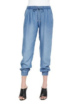 Indigo Dye Tapered Crop Pants, Medium Wash   Indigo Dye Tapered Crop Pants, Medium Wash