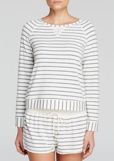 Splendid Intimates Lace Trim Stripe Pullover