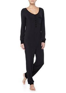 Splendid Intimates Long-Sleeve Contrast-Trimmed Jumpsuit, Black
