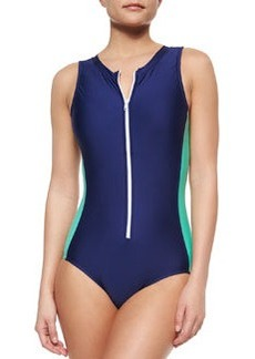 Splendid Soft Cup One-Piece Swimsuit, Navy/Spearmint
