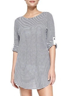 Splendid Striped Tunic with Button-Tab Sleeves, Navy