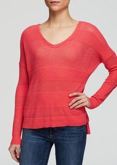 Splendid Sweater - Open Knit Stripe V-Neck