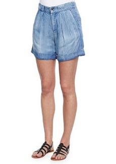 Splendid Wilder Denim Pleated Cuffed Shorts