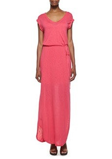 V-Neck Tie-Front Maxi Dress, Flamingo Pink   V-Neck Tie-Front Maxi Dress, Flamingo Pink